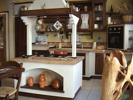 Cocina estilo rustico con isla central