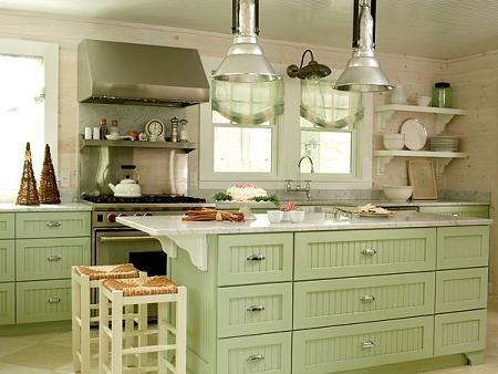 Cocina con isla estilo vintage