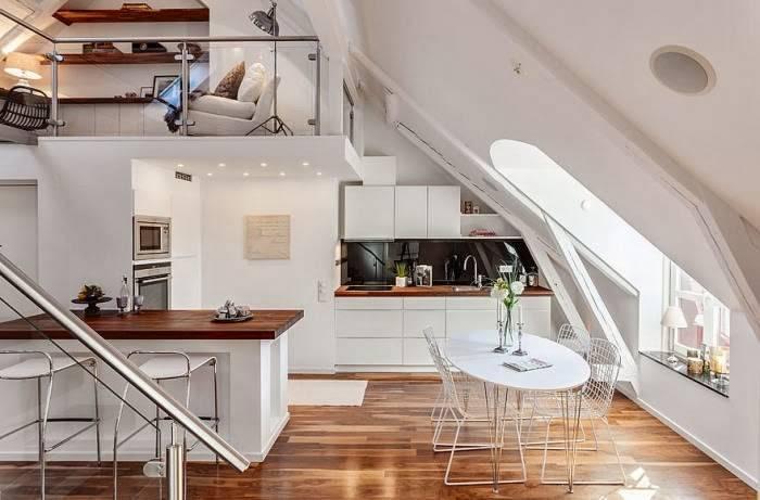 Diseño de cocina con isla para loft