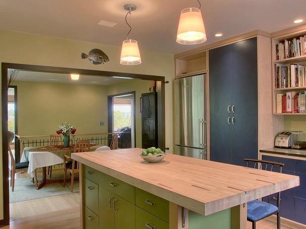 cocina con isla para loft