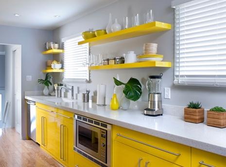 cocina diseño minimalista amarilla