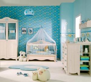 diseño cuarto de bebe en azul