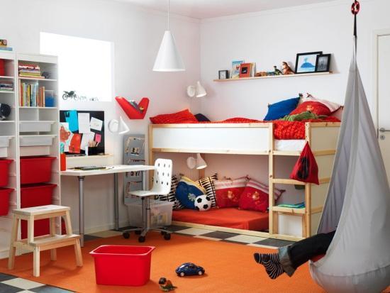diseño cuarto infantil ikea con baules y ordenacion