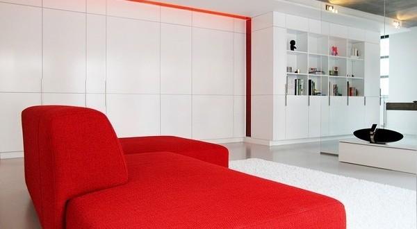 Dise o minimalista salon rojo y blanco hoy lowcost - Salones de diseno minimalista ...