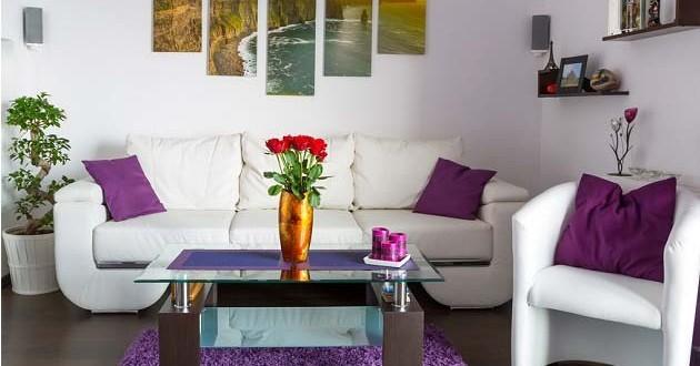 Dise o salones blanco y violeta hoy lowcost - Diseno salones pequenos ...