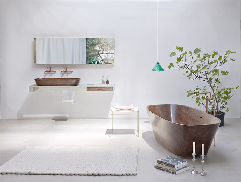 bañera de nogal