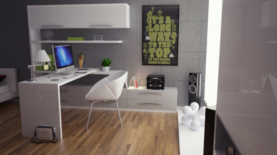 Stunning Modern Office Decorating Ideas for Men White Leather Chair