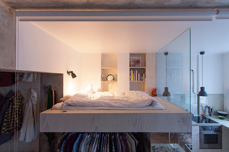 cama en altura y vestidor