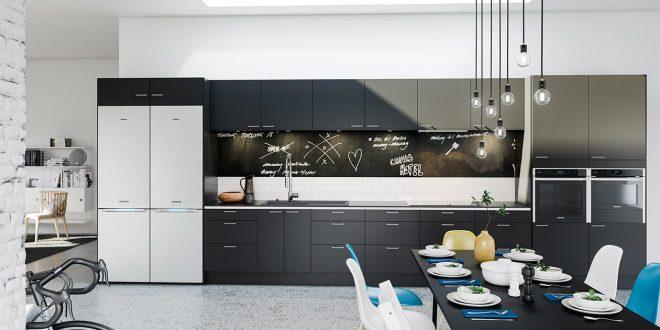 Cocinas negras interesting cocina negra y roja proyecto for Cocinas modernas negras