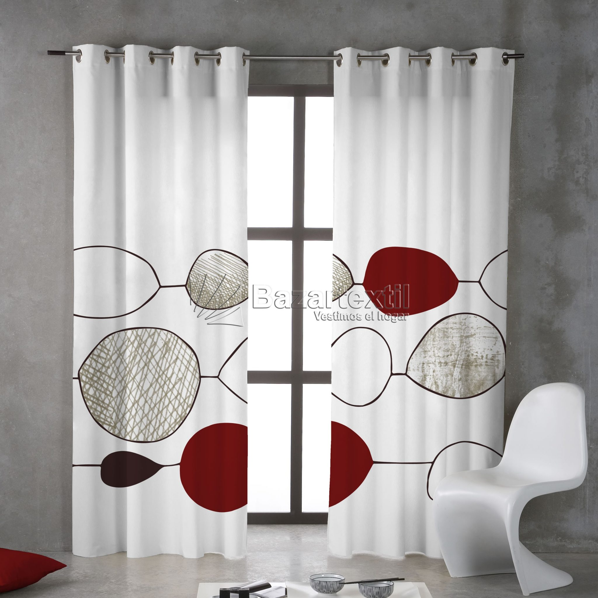 Cortinas de ba o modernas for Cortinas salon blanco y gris