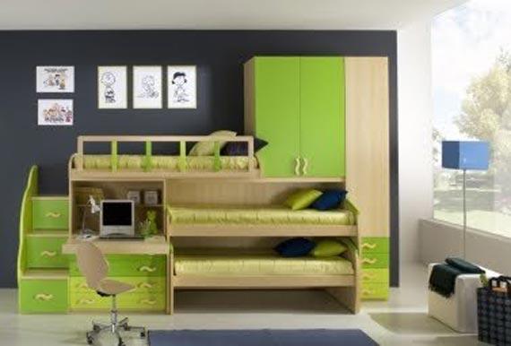 habitaciones juveniles pequeñas tres camas