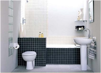 baño pequeño decorado en blanco y negro