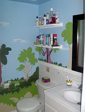 decoracion baño infantil vinilo en pared