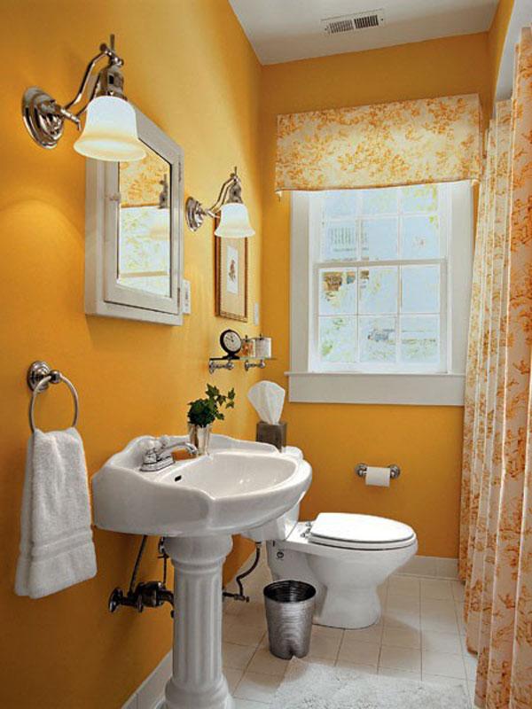 decoracion baños pequeños amarillo