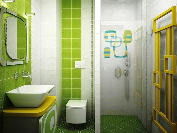 decoracion verde baños pequeños