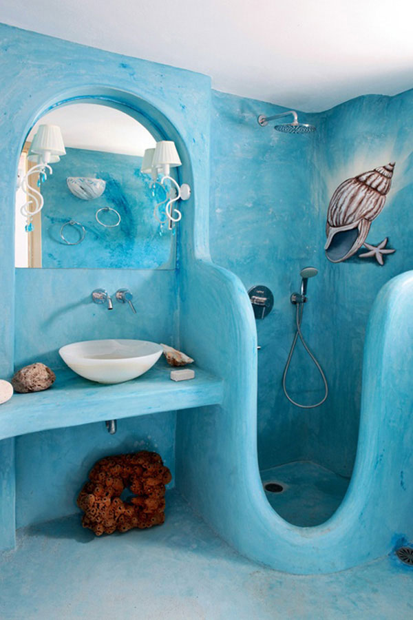 Baños Azules Pequenos:Ocean Bathroom Decorating Ideas