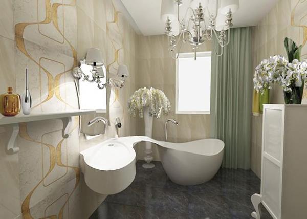 diseño unico en baño pequeño