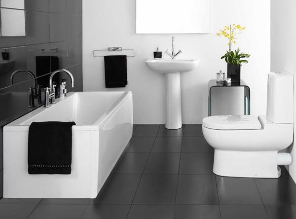 sencillo baño blanco y negro