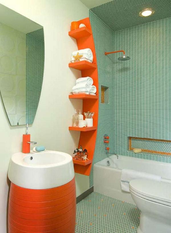 Baño Blanco Bizcocho:vibrante decoracion baños pequeños
