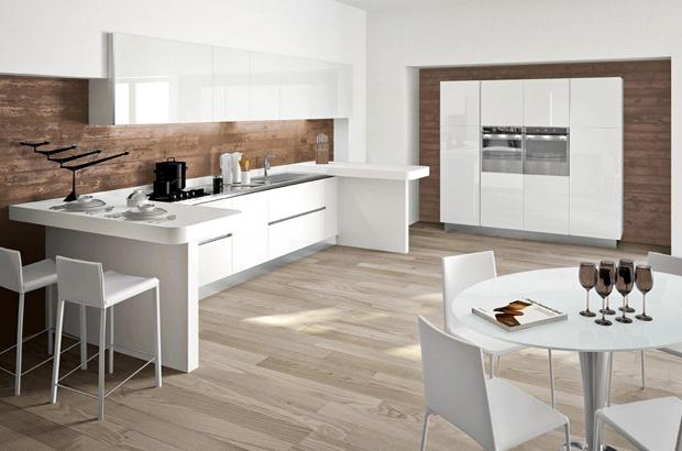 cocina integrada minimalista en blanco