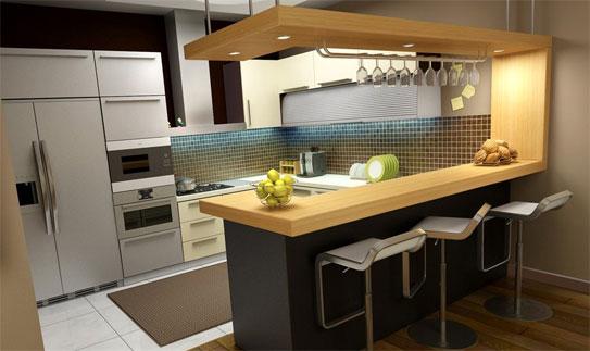 Cocinas modernas peque as estilos y dise os hoy lowcost - Cocinas pequenas con barra americana ...