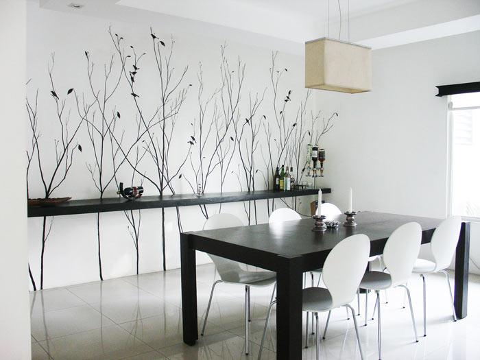 comedor estilo moderno en blanco