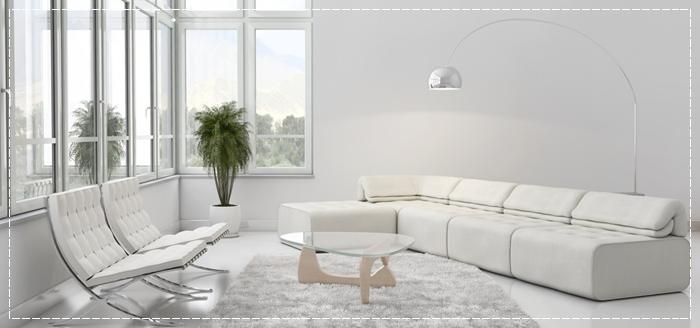 estilo minimalista blanco en salon