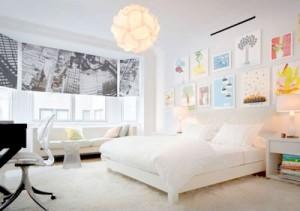 habitacion principal decorada en blanco