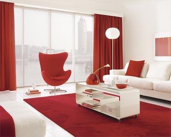 tendencias color blanco rojo salones pequeños