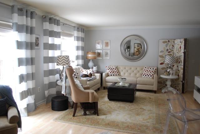 Cortinas a rallas decoracion salon hoy lowcost for Decoracion cortinas salon