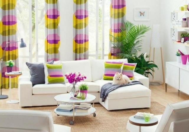 cortinas coloridas para decoracion salones blancos