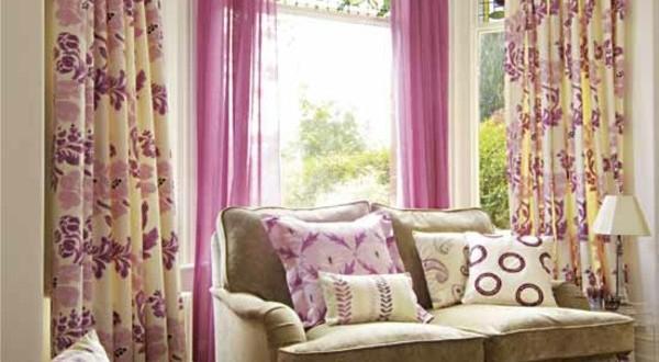 Cortinas combinadas lisas y flores para salones hoy lowcost for Cortinas lisas para salon