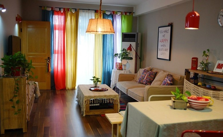 colorido cortinas sala de estar