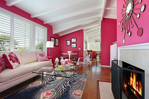 sala de estar comedor diseño rosa