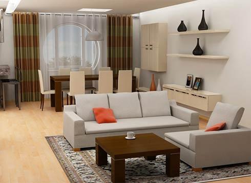 sala de estar con comedor decoracion sencilla