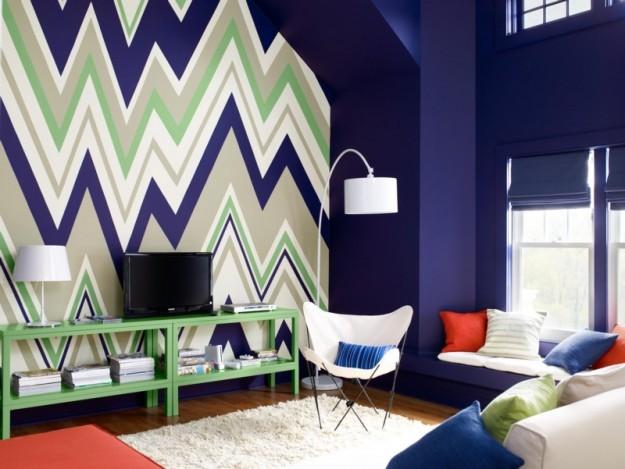 sala de estar en azul