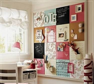 decoracion pared con corcho