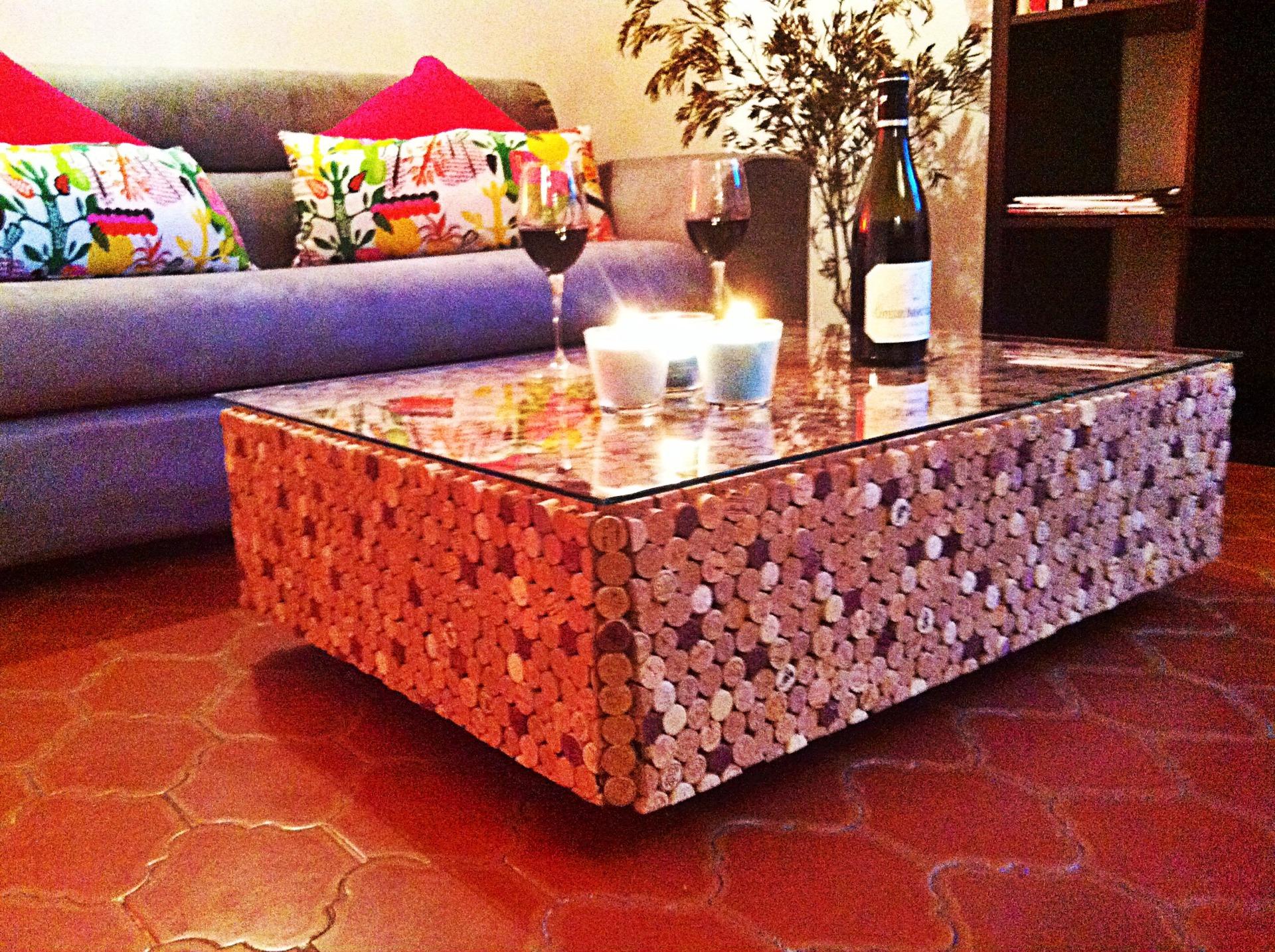 mesa centro de corcho