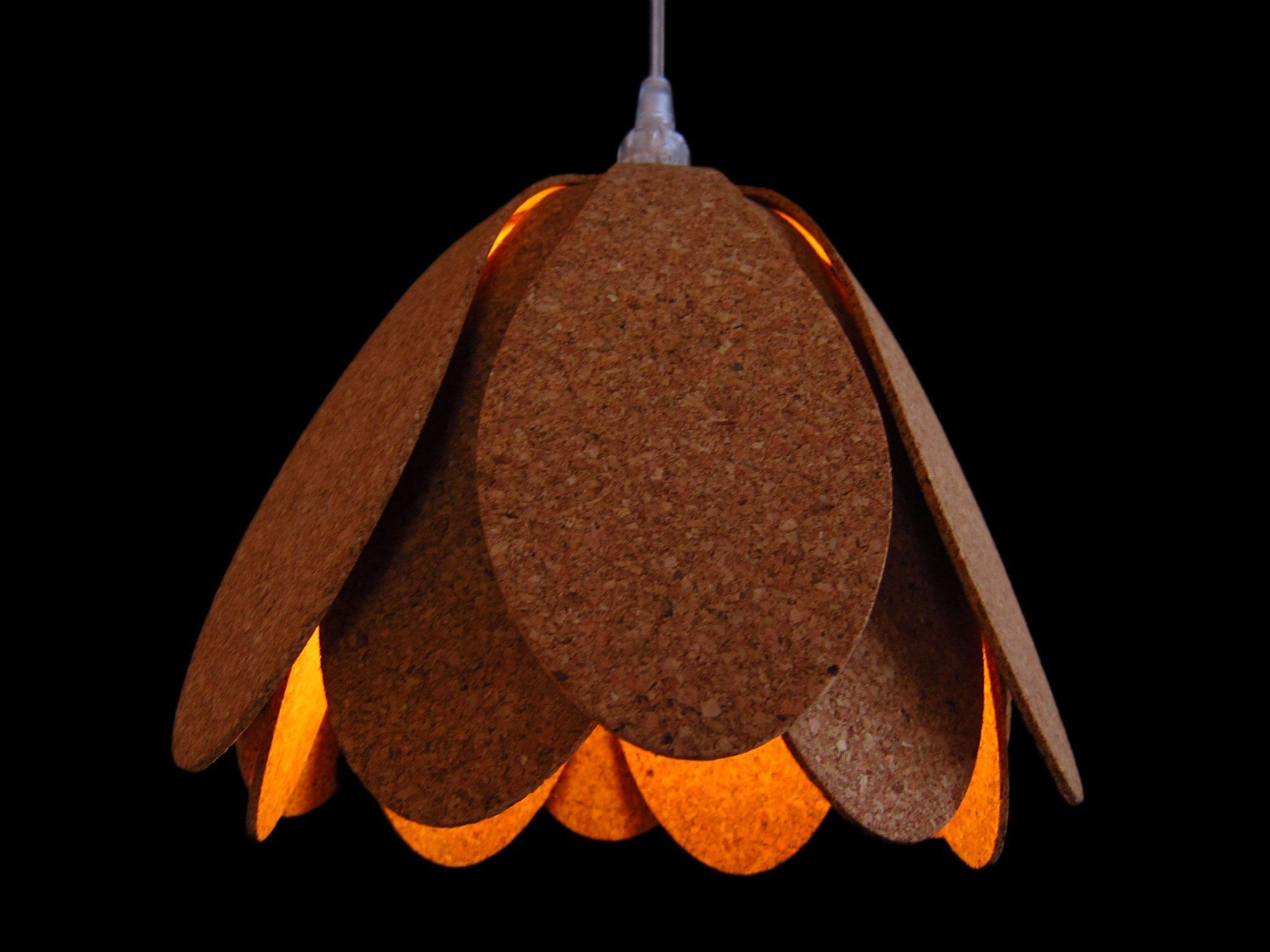 original lampara de techo de corcho
