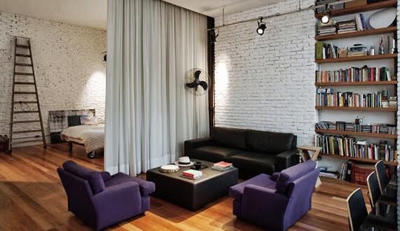 Cortinas separar ambientes espacios peque os hoy lowcost for Separar ambientes