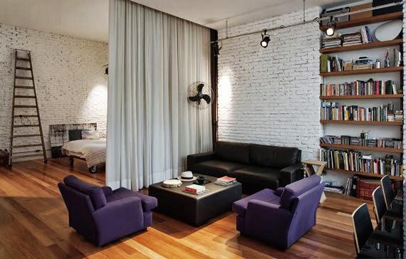 cortinas separar ambientes espacios pequeños