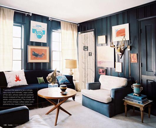 Bonito salon con paredes en negro