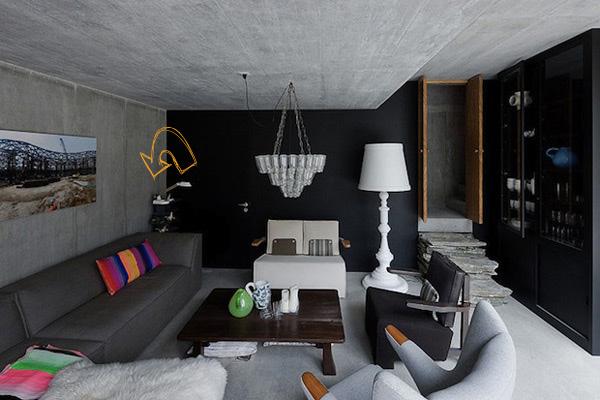 decoración de salones en negro