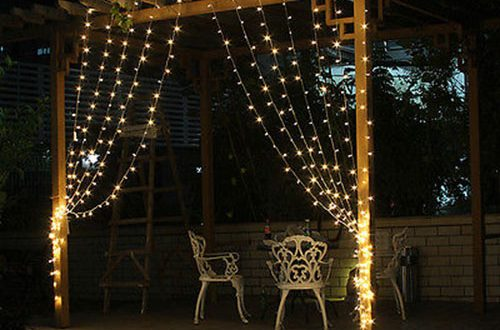 Cortinas navidad con guirnaldas de luces hoy lowcost for Cortinas con luces