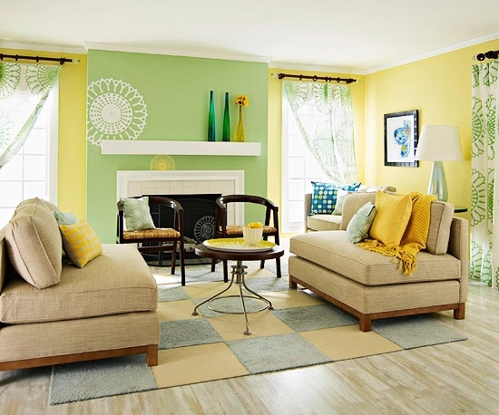 decoracion salon colores verde amarillo beis y gris