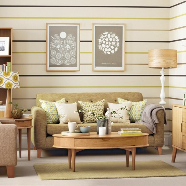 decoracion salones pequeños rayas horizontales