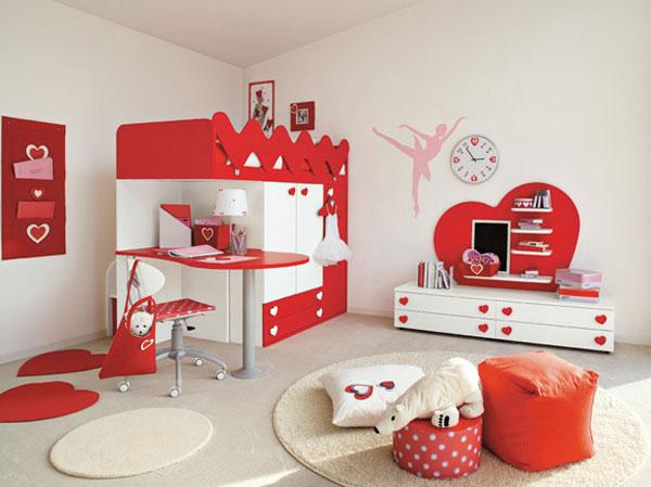 habitacion infantil niña en rojo