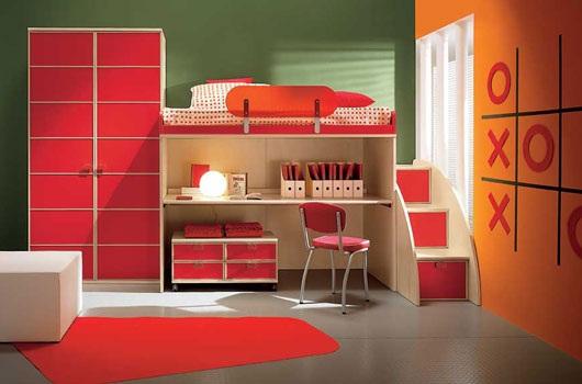 habitacion infantil rojo