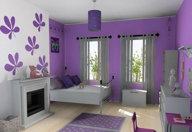 habitacion infantil violeta