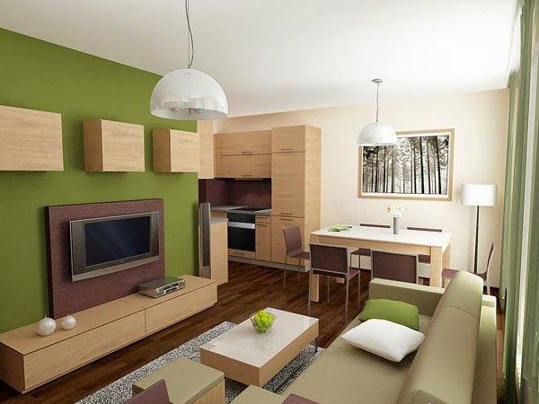 salon pequeño decoracion verde y crema